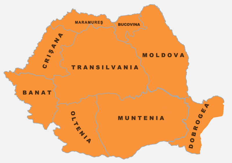 harta romaniei cu regiuni sitorice
