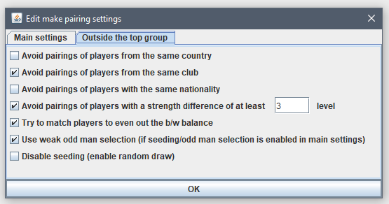 pairing outside top group